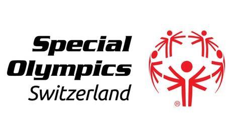 Das Logo von Special Olympics Switzerland zeigt fünf menschenähnliche Figuren die mit ihren schemenhaften Armen eine Kugel formen.